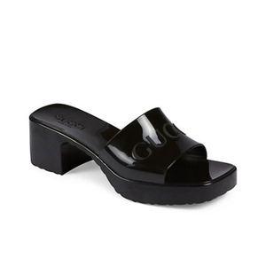Womens Gucci Black Rubber Slide Sandals